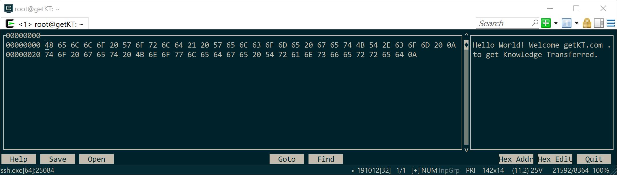 Hexcurse command to hexdump file content