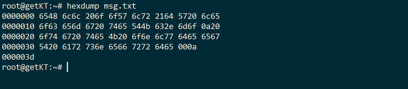 hexdump command to print content of file as hexadecimal strings
