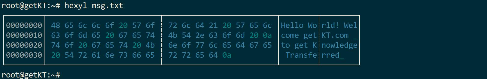 hexdump using command hexyl