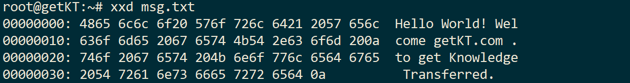 simple xxd command to content of file as strings of hexadecimal strings