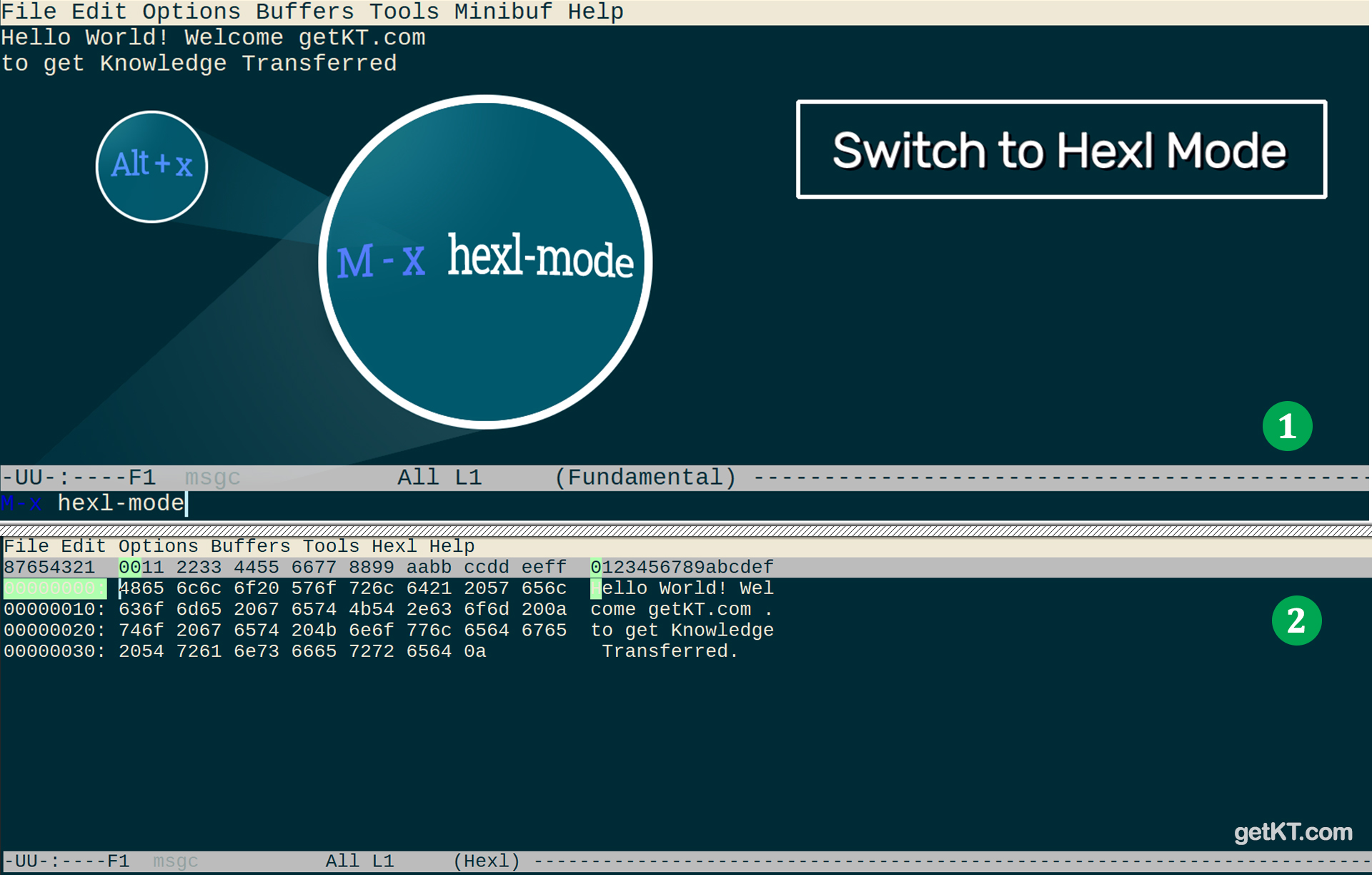 Emacs editor - Hexl mode to hexdump and edit content